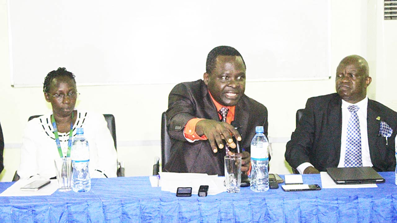 Vice Chancellor, Caleb University, Imota, Lagos State, Prof. Ayandiji Aina, flanked by registrar of the institution, Mrs. Folake Okor, and Dean, College of Postgraduate Studies/President, Chartered Institute of Bankers (CIBN), Prof. Segun Ajibola, at a press conference heralding the school's sixth convocation.