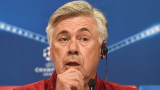 Bayern Munich's Italian headcoach Carlo Ancelotti follows a news conference, on the eve of the Champions League group D match between FC Bayern Munich and PSV Eindhoven at the stadium in Munich, southern Germany, on October 18, 2016.   / AFP PHOTO / CHRISTOF STACHE