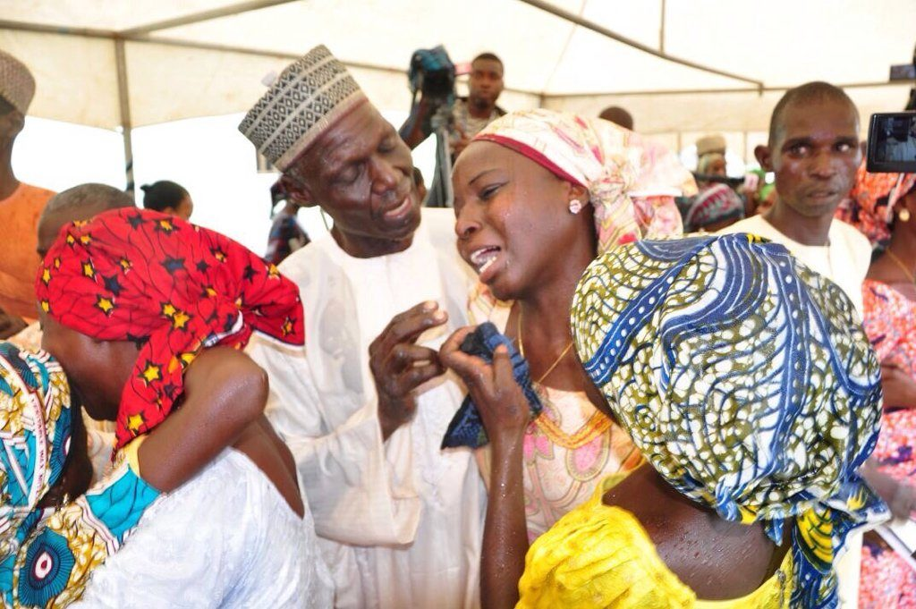 The 21 released Chibok girls reunited with their parents today since their abduction on the 14th of April, 2014. PHOTO: TWITTER/DIGICOMMSNG