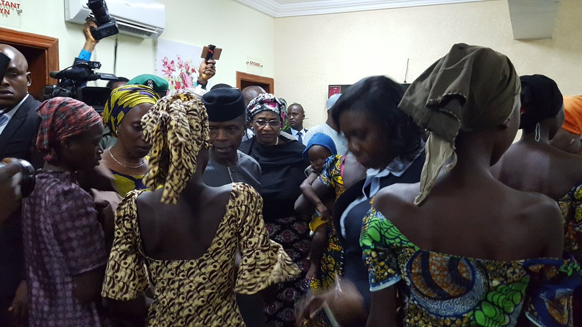 Vice President Yemi Osinbajo (centre) with some of the freed Chibok girls in Abuja yesterday