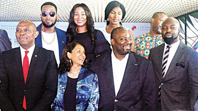 Tony Elumelu, D'banj,Parminder Vir, Chioma, Obi Asika and Audu Maikori during the MoU ceremony between the Ministry of Information and Tony Elumelu Foundation.JPG