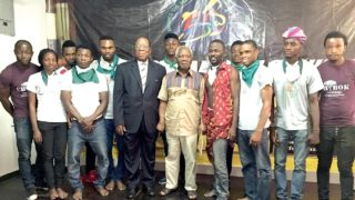 Prof. JP Clark (middle), guest speaker, Solomo Asemota (third from left) with Team Nigeria at Freedom Park, Lagos.