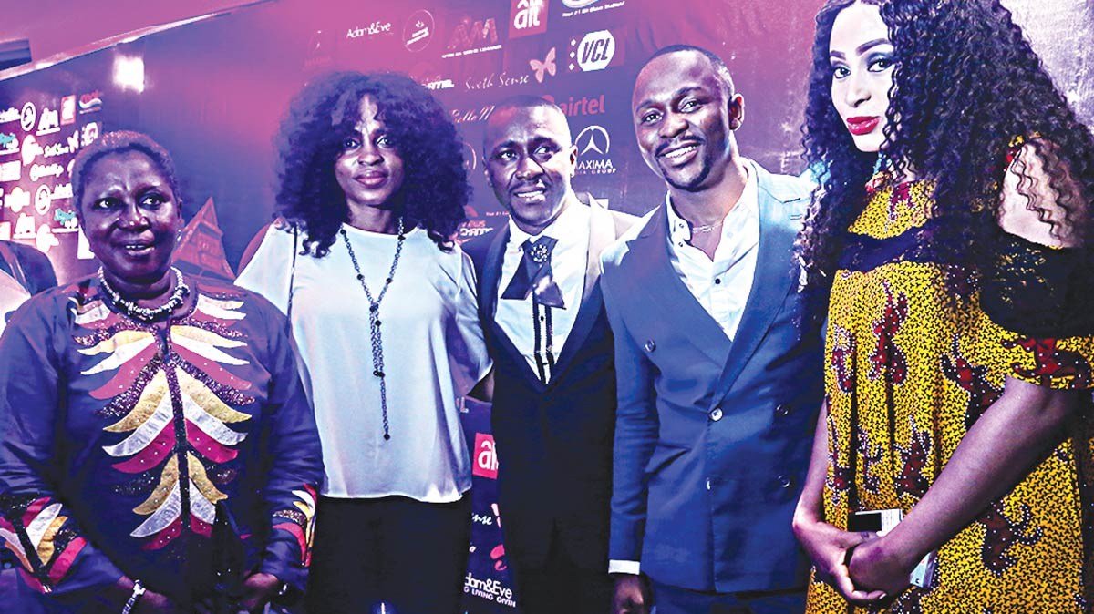 Nollywood actor Binta Ayo Mogaji (left); MD Diversglitter.com, Folake Odunsanya; GMD of Maxima, Femi Ogundoro; comedian Ushbebe and MD of Midas Touch, Mabel Makun at the premiere of The Condo and Dream Abode at the Wheatbaker, Ikoyi, Lagos.