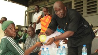 Special Adviser on Sports to the Governor of Lagos State, Mr. Deji Tinubu (right) presents Fielder of the Series award to Nelson Aminat of Ansar-ud-Deen Girls High School, Itire, at the final of Lagos State T20 Secondary Schools Cricket Championship at the Cricket Oval, Tafawa Balewa Square, Lagos…at the weekend.
