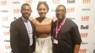 O.C. Okeji; Somkele Idhalama and Lagos State Commissioner for Information and Strategy, Mr. Steve Ayorinde, on the red carpet at the festival… in Toronto, Canada