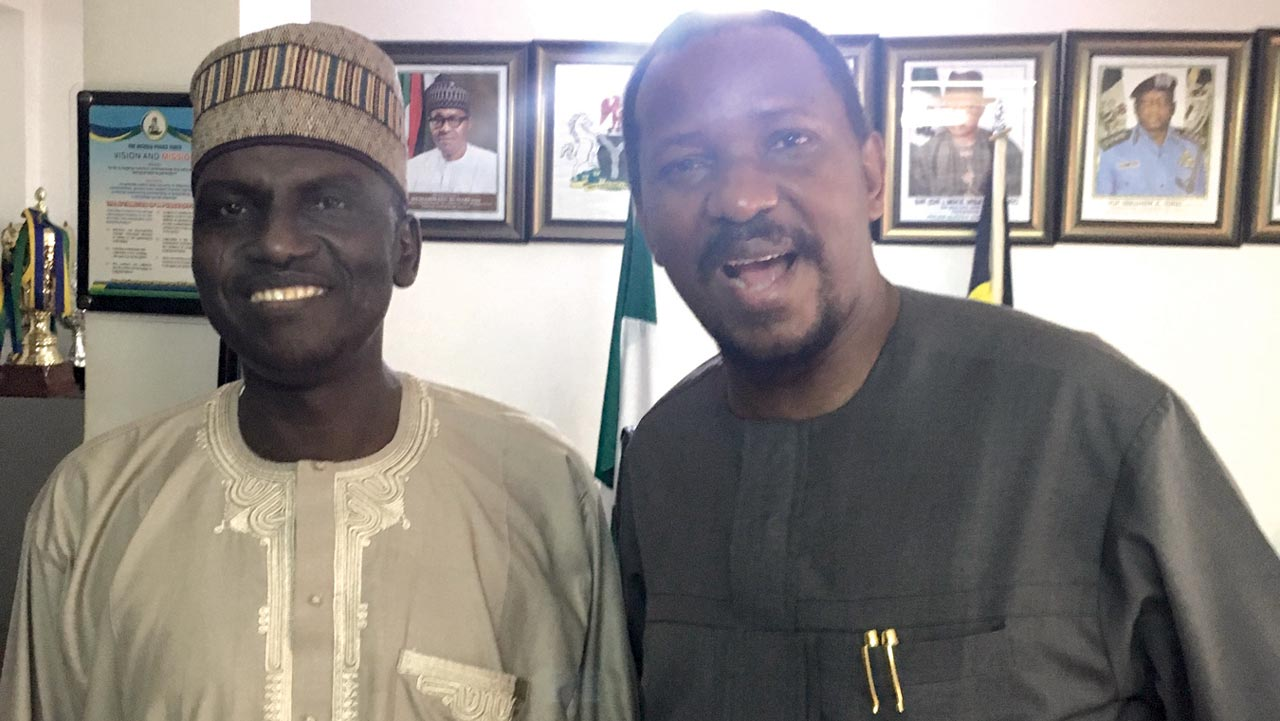 FCT Police Commissioner, Mohammed Mustapha and LMC Chairman, Shehu Dikko at the CP's office inside the FCT Police Command in Abuja