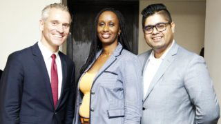 Daniel Weihrauch, CEO Lions&Gazelles; Fifi Rurangwa, Head of Africa Expansion, Wakanow and AbdulRaouf AbdulRazak, Deputy Head of Sales, Dubai Parks and Resorts during the unveiling of Dubai Parks and Resorts in Lagos.