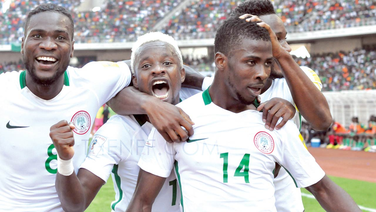 Eagles celebrating after defeating Zambia in their 2018 World Cup qualifier...at the weekend