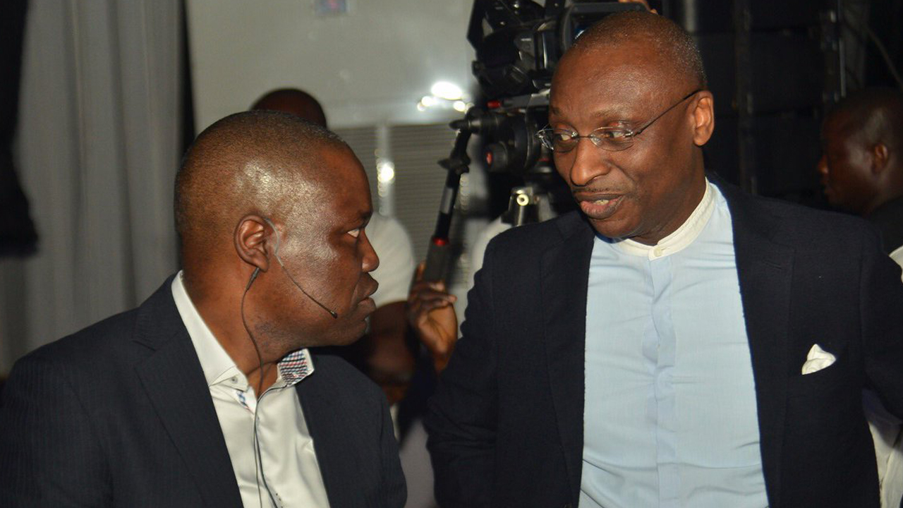 Ecobank Group CEO Ade Ayeyemi and MD Ecobank Nigeria Charles Kie at the EcobankMobile app launch in Lagos