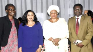 Deputy Rector Academics-Yabatech,Dr Oyilola; founder, Rose of Sharon Foundation, Mrs. Folorunso Alakija,; Chairman Ceremonies Yabatech, Dr Oketunji and Deputy Rector Administration, Yabatech, Dr. Raheem during the Enterprise Development /Skills Acquisition Training organized by Rose of Sharon Foundation in Yaba College of Technology