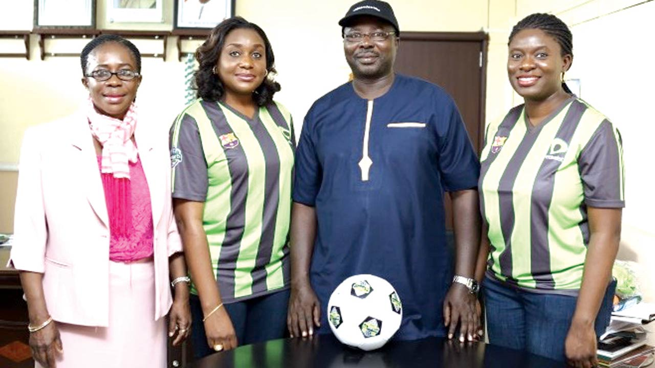 Permanent Secretary, Oyo State Ministry of Education, Aderiyinke Makanjuola (left); Head, Events and Sponsorship, Etisalat Nigeria, Modupe Thani; Honourable Commissioner for Education, Oyo State, Prof. Adeniyi Olowofela and Manager, Sponsorship, Etisalat Nigeria, Orah Egwu during a courtesy visit to the Commissioner to mark the kick-off of the Etisalat School Cup season 3 Regional Play-Off in the State… on Tuesday.
