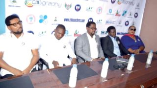 Head, Events/Facilities Committee, Amadike Enyadike (left), Secretary, MOC, Sanipe Damiete, Chairman MOC, China Acheru, Victor Ezeji, and Head, Accommodation/Welfare Committee, Zara Opara, during the unveiling of the programme for the Victor Ezeji testimonial scheduled for December.
