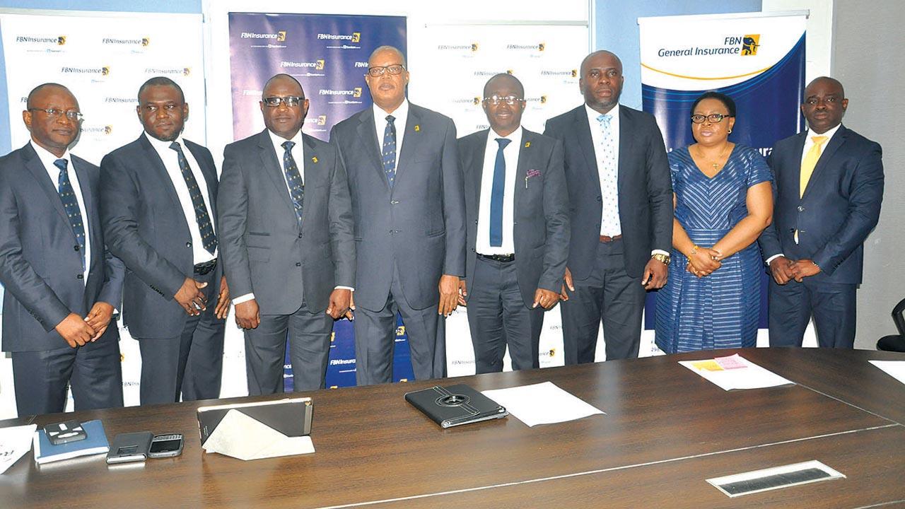 Head ERM & Annuity Services, FBNI, Adeola Adekunle (left); MD/CEO, FBNGI, Bode Opadokun; MD/CEO, FBNInsurance Limited, Val Ojumah; Head, Brokers Market & Public Sector, Olasupo Sogelola; Retail Distribution, FBNI, Kelvis Eikponobhoa; and Head Marketing & Corporate Communications, FBNI, Elizabeth Agugoh, during the Media Product fair for FBNInsurance and FBN General Insurance held recently.
