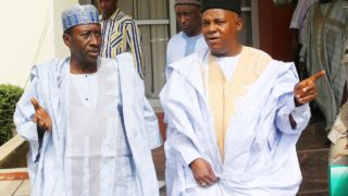 National Security Adviser to the President, Major General Babagana Monguno with the Borno State Governor Alhaji Kashim Shettima .