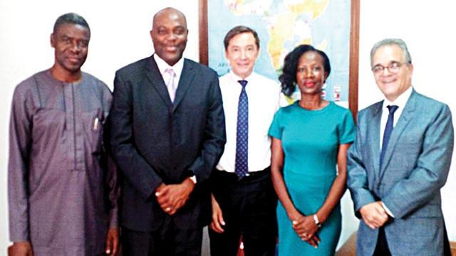 Special Assistant to the Vice Chancellor, Federal University Ndufu Alike, Ikwo, Ebonyi State, Mr. Chris Uwadoka (left), vice chancellor of the school, Prof. Chinedum Nwajiuba, France Ambassador to Nigeria, Mr. Denys Gauer; Dr. Nnenna Nwosu; and Cultural and CooperationAttaché, Arnaud Dornon, during the vice chancellor's visit to the envoy in Abuj.