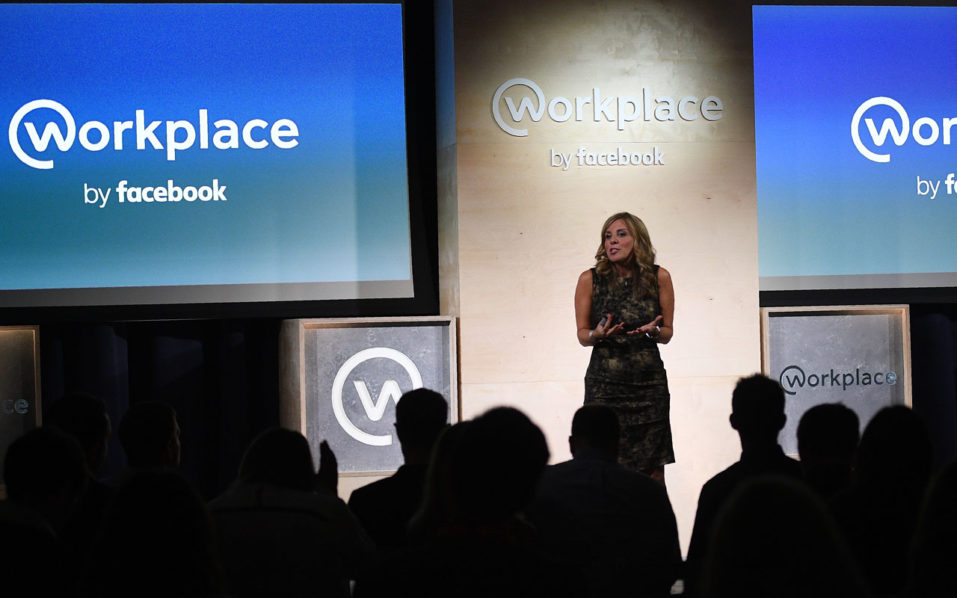 "Nicola Mendelsohn, Vice President of EMEA at Facebook, speaks during an event to launch the social media company's latest product ""Workplace"", in central London on October 10, 2016. Social network giant Facebook launched new global product Workplace, a platform that it hopes will replace intranet, mailbox and other internal communication tools used by businesses worldwide. It is intended to compete with similar office communication products including Microsoft's Yammer, Salesforce's Chatter and Slack.  / AFP PHOTO / Justin TALLIS"