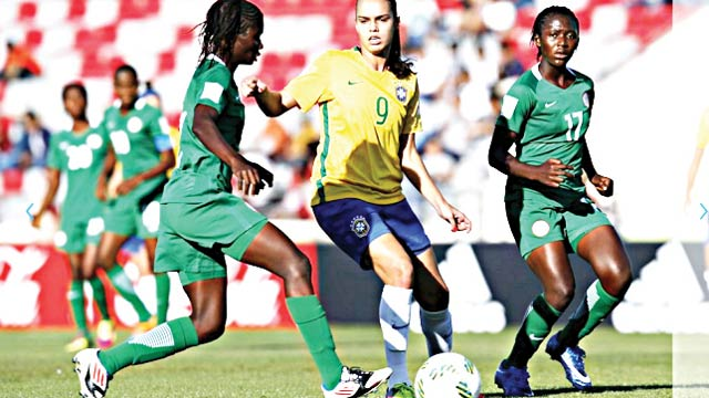 Flamingoes players in action against Brazil at the on-going FIFA U-17 Women's World Cup
