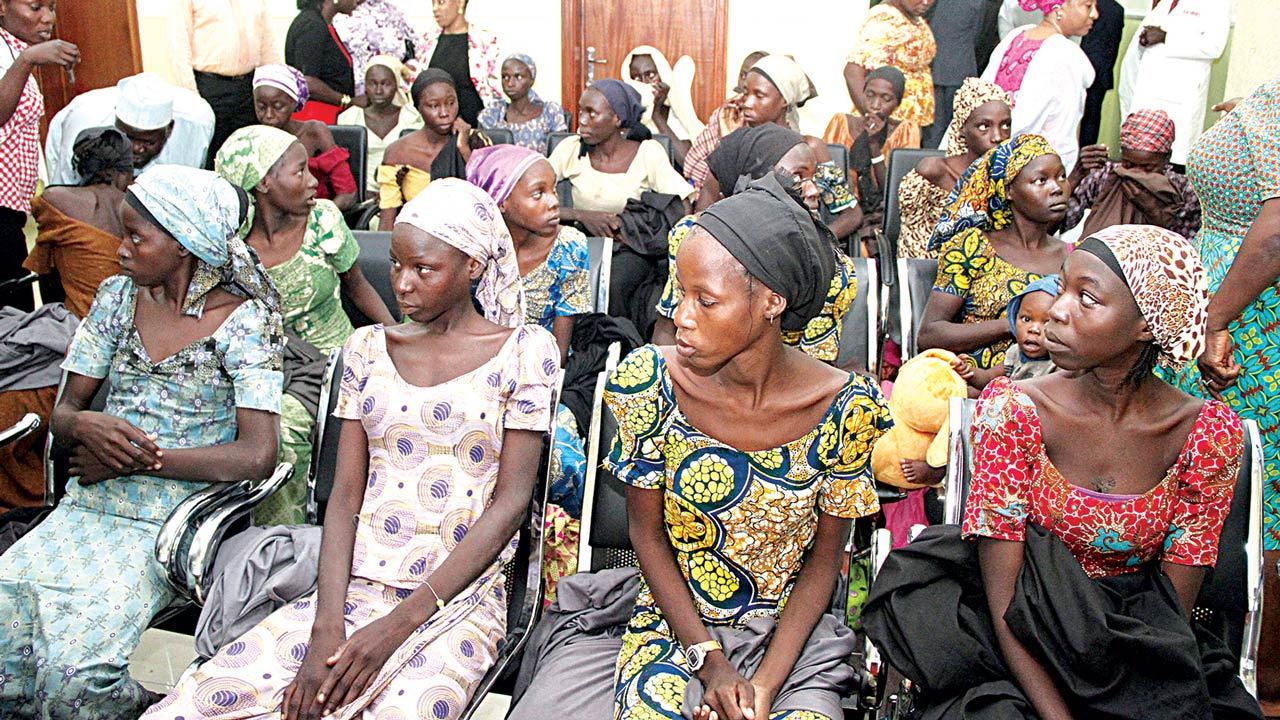 Some of the Chibok girls,       PHOTO: PHILIP OJISUA