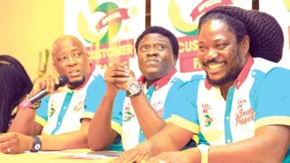 General Manager, Marketing and Sales, MultiChoice Nigeria, Martin Mabutho (left); Marketing Manager, GOtv, Akinola Salu and GOtv Ambassador, Daddy Showkey  at a press conference ...on Wednesday. PHOTO: FEMI ADEBESIN-KUTI