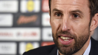 England caretaker manager Gareth Southgate gives a press conference at England's training facility at St George's Park in Burton-upon-Trent, in central England, ahead of England's 2018 World Cup qualifying football match against Malta on October 8.  / AFP PHOTO / PAUL ELLIS /