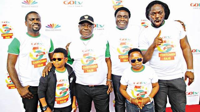 Johson Ivase (left); Osita Iheme; John Okafor (Mr Ibu); Akinola Salu;  Chinedu Ikedieze (AKi) and Daddy Showkey.