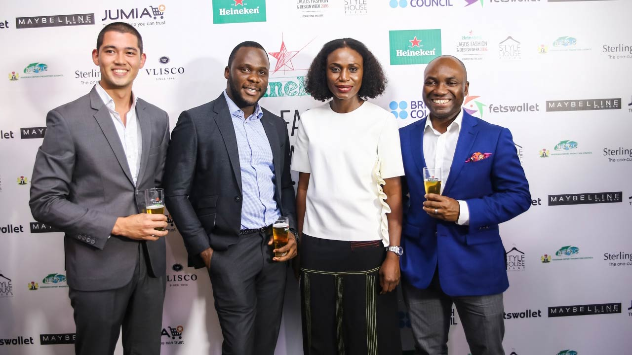 Omoyemi Akerele Founder and Executive Director, Heineken Lagos Fashion and Design Week flanked by the Heineken Team Fai de Swart, Biyi Fagade and Sampson Olochie Portfolio Manager, International Premium