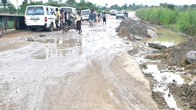 Bad portion of Calabar-Itu road at Odukpani axis