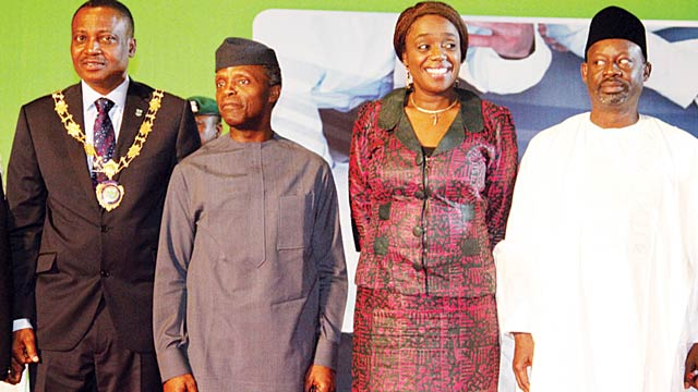 Vice President Yemi Osibanjo (left); Minister of Finance, Kemi Adeosun and Gombe State Governor Ibrahim Dankwambo, at the conference in Abuja…yesterday