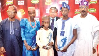 Former Central Bank of Nigeria Governor, Chief Joseph Sanusi (left); winners, Physical Bravery and Social Bravery categories, Favour Unwene and Salisu Ibrahim; Group Managing Director, Dufil Prima Foods Plc, Mr Deepak Singhal, winner, Intellectual Bravery category, Babatimileyin Daomi and Senator Olurunnimbe Mamora at the event.               PHOTO: SUNDAY AKINLOLU