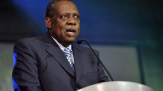 The president of CAF, Issa Hayatou, who announced the host countries of the African Nations Championship in 2019, 2021 and 2023. | AFP/Sia Kambou