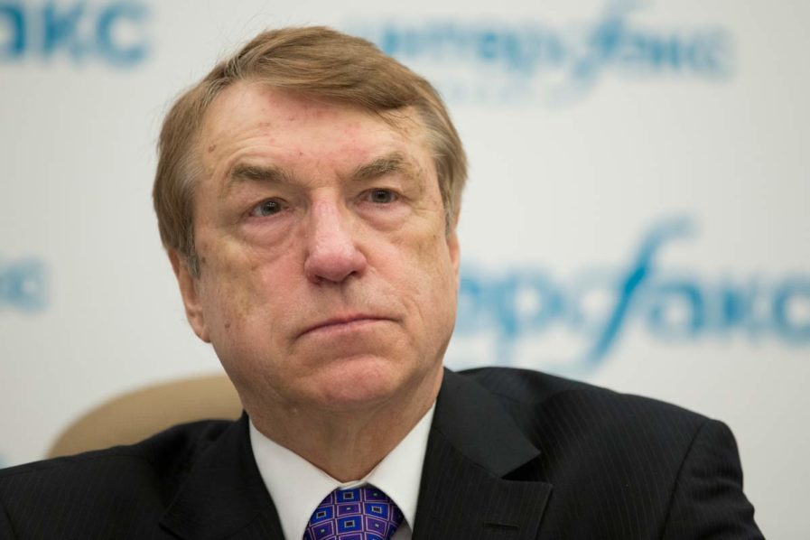 Ivars Kalvins, Latvian chemist and the inventor of meldonium, trade-named Mildronat, a full member of the Latvian Academy of Sciences, speaks to the media Moscow, Russia, Monday, April 18, 2016. (AP Photo/Alexander Zemlianichenko)