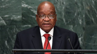 South Africa's President Jacob Zuma addressing the 71st session of the United Nations General Assembly at the UN headquarters in New York.  South African President Jacob Zuma moved on October 13, 2016 to block a watchdog's potentially explosive report into graft allegations against him, in his latest legal bid to protect his battered reputation. Zuma, 74, has survived a series of damaging scandals while in office, but has faced increasing criticism as the economy stalls and after the ruling ANC party suffered unprecedented losses in local polls.  / AFP PHOTO / Jewel SAMAD