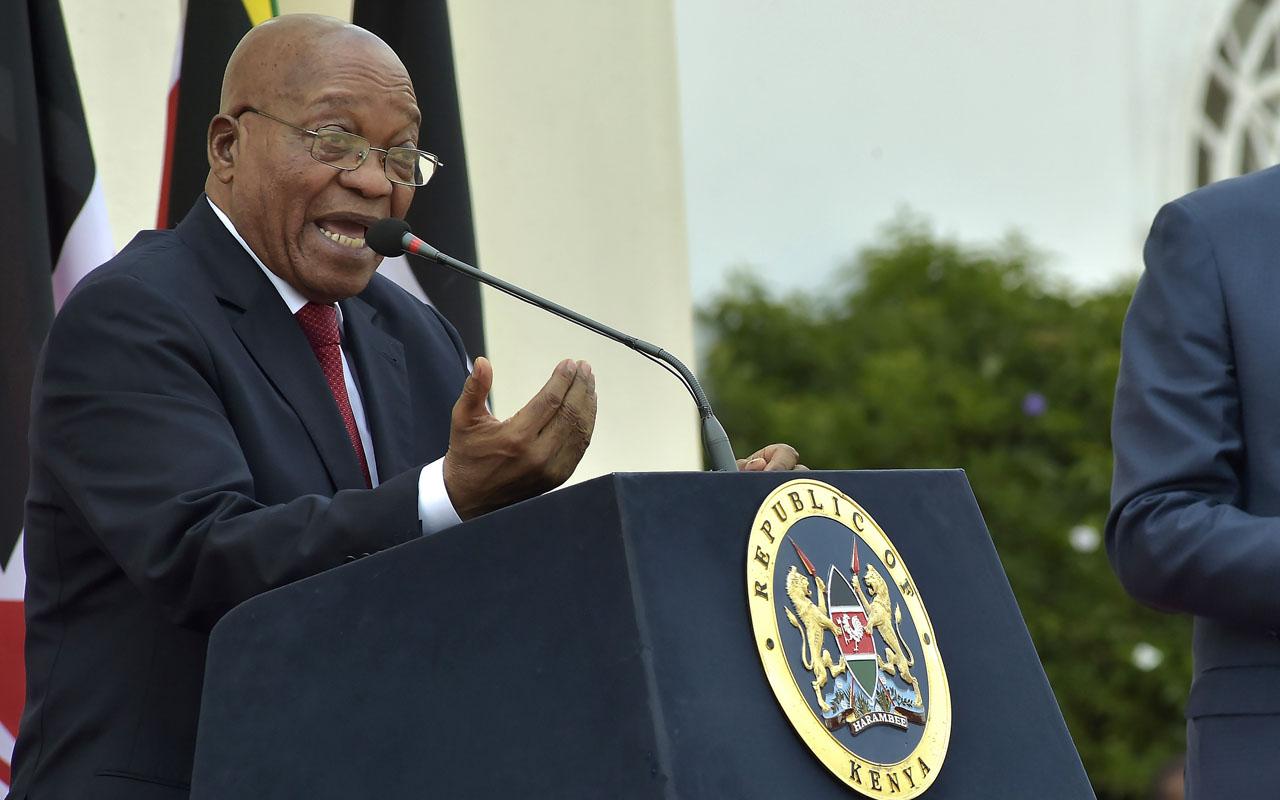 South African President Jacob Zuma   / AFP PHOTO / SIMON MAINA