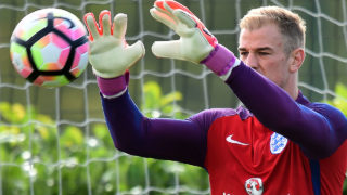 England's goalkeeper Joe Hart attends a team training at Tottenham Hotspur's football training facility in Enfield, north London on October 10, 2016 on the eve of the team's World Cup qualifying match against Slovenia.                                                 / AFP PHOTO / GLYN KIRK /