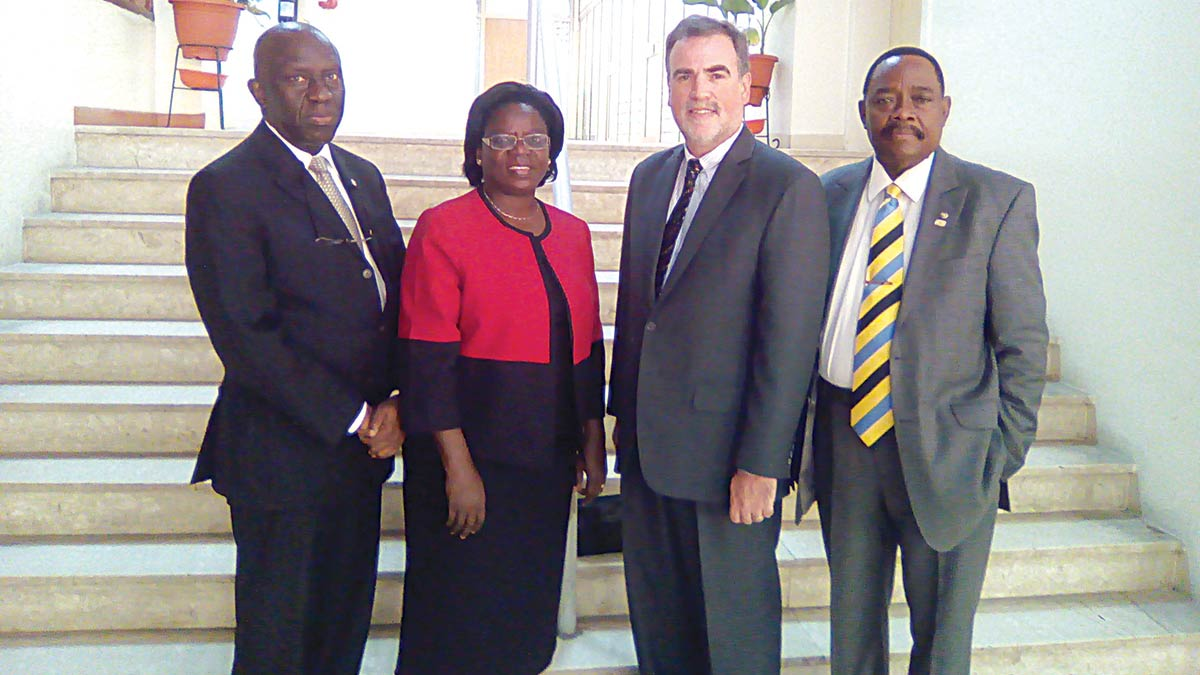 Deputy President, Lagos Chamber of Commerce and Industry (LCCI), Chief Babatunde Paul Ruwase,(left); Country Director in Nigeria, Center for International Private Enterprise (CIPE), Mrs Omowunmi Gbadamosi; Managing Director, CIPE, Andrew Wilson; and Vice President, LCCI, Dr. Michael Olawale - Cole,during the courtesy visit of CIPE to LCCI in Lagos, on Monday.