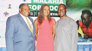 Professor of Paediatrics and Child Health and Director, Centre for Malaria Care, University of Ilorin Teaching Hospital, Ilorin, Kwara State, Olugbenga A. Mokuolu (left); veteran actress, Kate Henshaw; and Chief Executive Officer (CEO) of Society for Family Health (SFH), Bright Ekweremadu at a malaria dinner for media personalities organized by the National Malaria Elimination Programme (NMEP) and SFH in Lagos