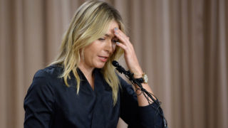 Tennis player Maria Sharapova addresses the media at The LA Hotel Downtown on March 7, 2016 in Los Angeles, California. Sharapova, a five-time major champion, is currently the 7th ranked player on the WTA tour. Sharapova, withdrew from this week's BNP Paribas Open at Indian Wells due to injury. PHOTO; AFP