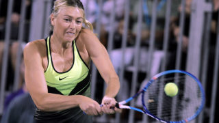 Tennis player Maria Sharapova competes in the World TeamTennis Smash Hits charity tennis event benefiting the Elton John AIDS Foundation at Caesars Palace on October 10, 2016 in Las Vegas, Nevada. / AFP PHOTO / John GURZINSKI