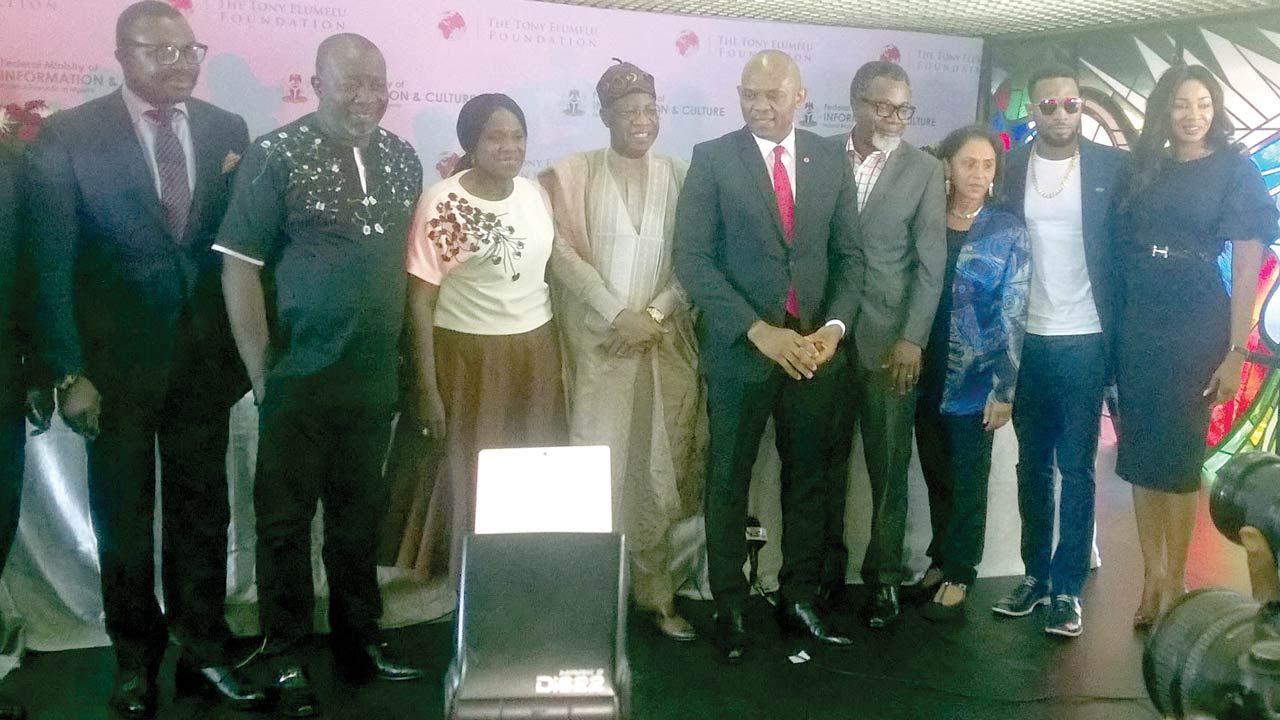 Comedian, Mr. Ali Baba; filmmaker, Mr. Zeb Ejiro; screen diva, Joke Silver; Minister of Information and Culture, Alhaji Lai Mohammed; Chairman, Tony Elumelu Foundation, Mr. Tony Elumelu; filmmaker, Mr. Mahmoud Ali-Balogun; CEO, Tony Elumelu Foundation, Ms Parminder Vir; musician, D'Banj and Founder, International Film Festival, Ms Chioma Udeh after signing the MoU last week at the National Theatre… in Lagos