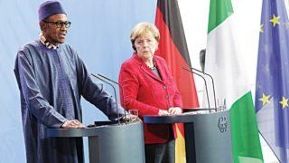 President Muhammadu Buhari with German Chancellor Angela Merkel at the Chancellery in Berlin, Germany… yesterday