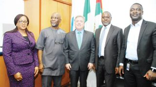 Second Vice-President of Nigeria Gas Association (NGA), Mrs Audrey Joe-Ezigbo (left); first Vice President, NGA, Dada Thomas; Chairman/Managing Director, Chevron Nigeria Limited, Clay Neff; President, NGA, Bolaji Osunsanya and Director, NNPC/CNL JV),  Monday Ovuede during NGA's courtesy visit to Chevron Nigeria Corporate Office in Lagos.