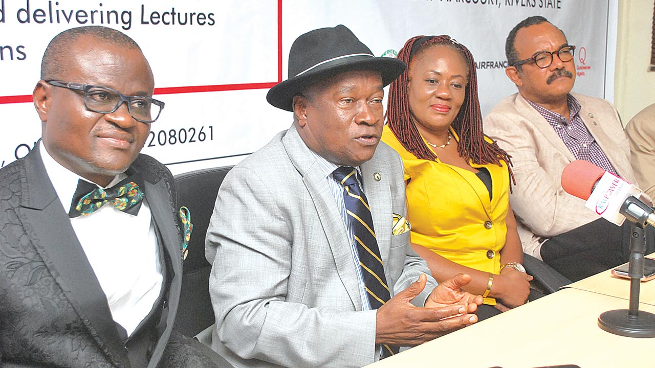 Chairman, Nigerian Institute of Architects (NIA) Rivers State Chapter, Dike Emmanuel (left); NIA President, Tonye Oliver Braide; General Secretary, Abimbola Ajayi and Chairman, Students Affairs Committee, David Majekodunmi during the press briefing on West Africa Architecture Festival in Lagos PHOTO: AYODELE ADENIRAN
