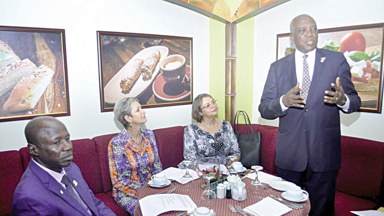 Chairman of EFCC, Ibrahim Magu (left); President, International Federation of Accountants (IFAC), Mrs. Olivia Kirtley; IFAC Executive Director, Strategy and Chief Operating 0fficer, Alta Prinsloo; and President of the Association of National Accountants of Nigeria (ANAN), Anthony Nzom, at a breakfast meeting on Wednesday in Abuja.