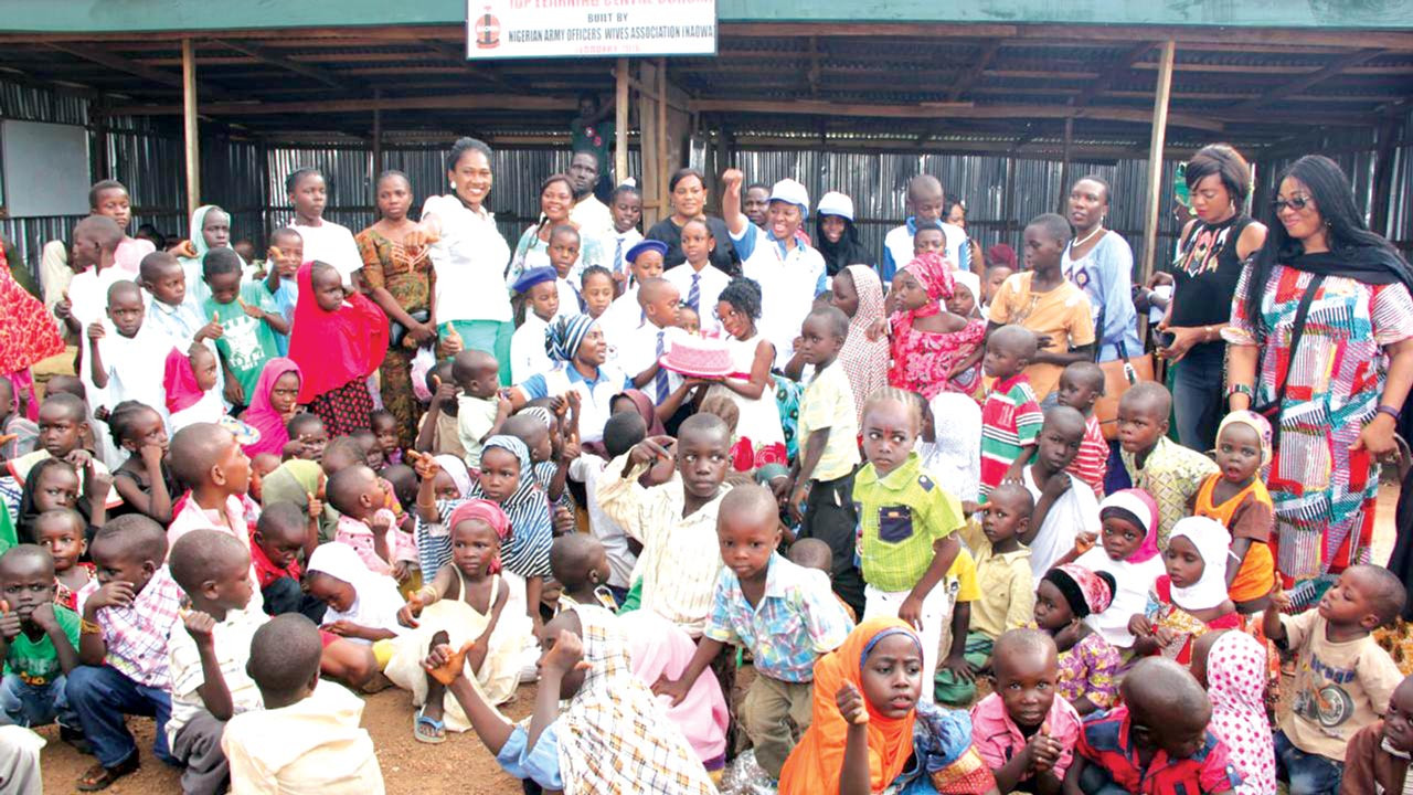 A seven-year-old girl, Shise Alagh celebrating her birthday with internally displaced persons in Abuja PHOTO: LUCY LADIDI ELUKPO