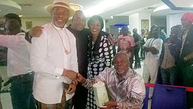 RMDl; Emeka Osai, his wife and Olu Jacob at the VIP screening of Oloibiri