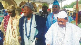 The Alaafin of Oyo, Lamidi Adeyemi (right), Olubadan of Ibadan, Saliu Adetunji, and Agbaakin Olubadan, Lekan Alabi, at the Olubadan's visit to the Alaafin at his palace in Oyo…yesterday 						                     PHOTO: NAJEEM RAHEM