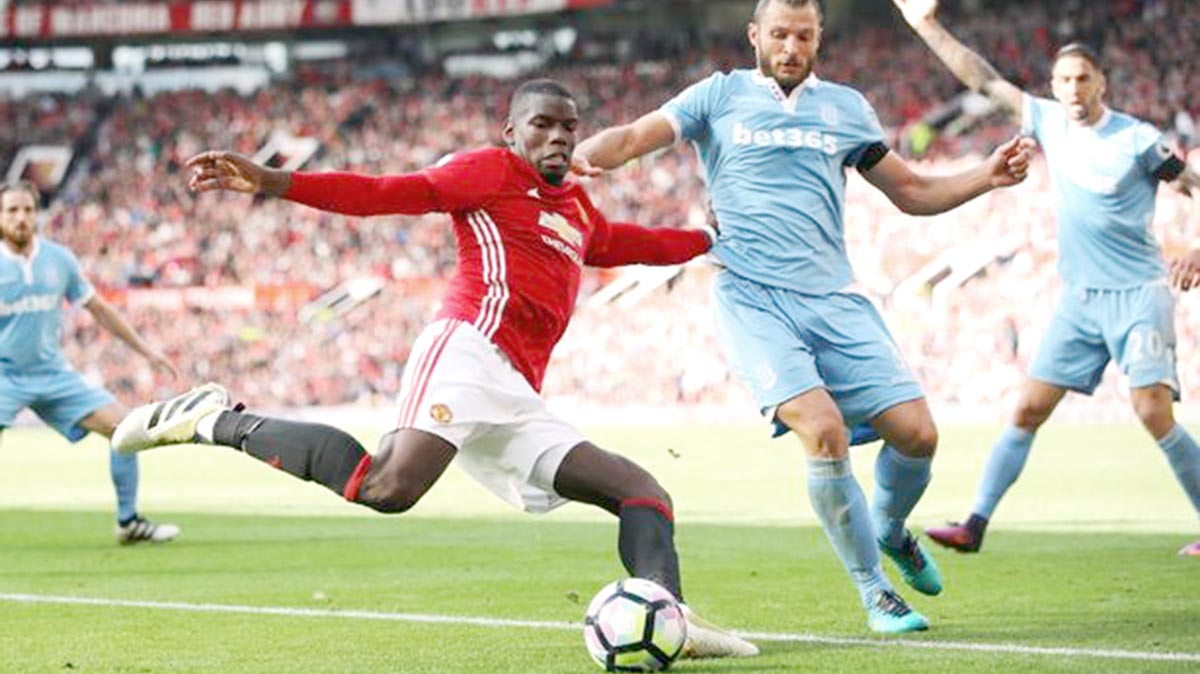 Manchester United's Pogba  in action against Stoke City in yesterday's Premiership game