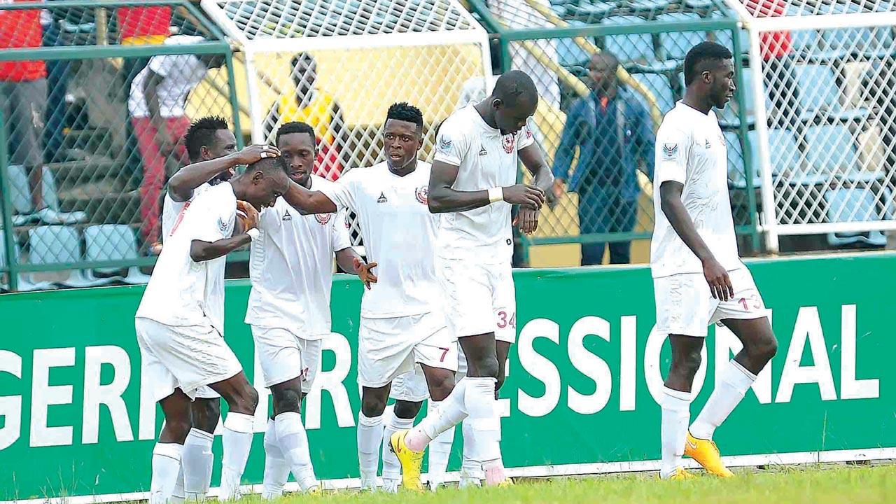 Enugu Rangers celebrating their 2-1 defeat of Ikorodu United at the M.K.O Abiola Stadium, Abeokuta… penultimate weekend.