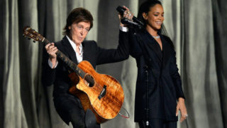 Rihanna and Paul McCartney perform at the 2015 Grammy awards in Los Angeles.  PHOTO: Getty/AFP / Kevork Djansezian