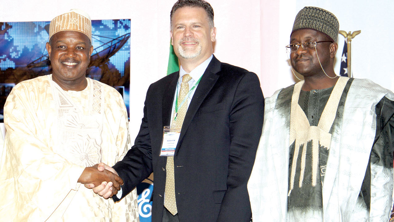 Governor of Kebbi State, Abubakar Atiku Bagudu, Acting Economic Counselor, United States of America, Mr Joel Kopp and Director-General, Bauchi Investment Promotion Council, Alh. Aminu Musa at the SMEs conference ...yesterday.